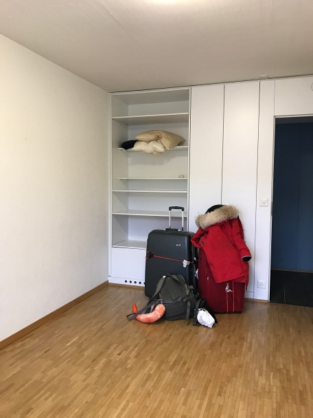 When I first moved in! Just a girl and her suitcases.
