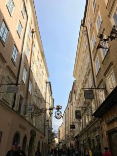The narrow streets of Salzburg.