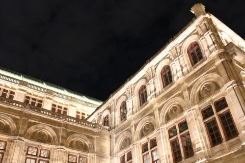 The State Opera House at night.