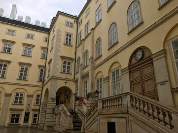 The exterior of a boys' choir chapel on the Hofburg grounds.